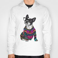 frenchie Hoodies featuring hipster frenchie by Huebucket