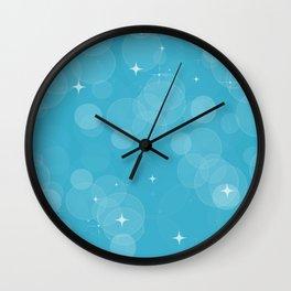 Blue bokeh Wall Clock