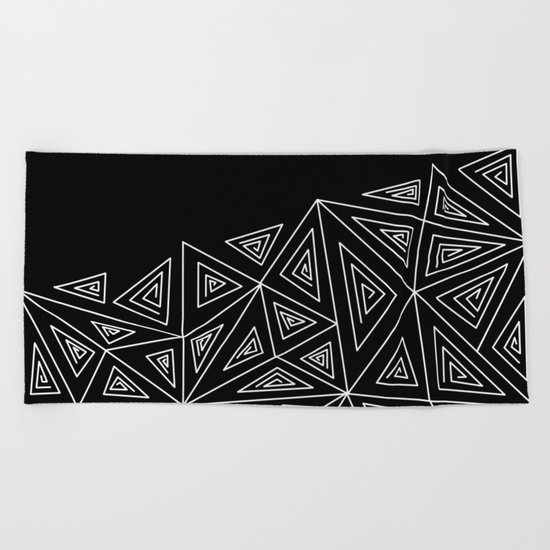 Abstract black and white pattern.Triangles 2 . Beach Towel