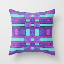Painted cyan and magenta parallel bars Throw Pillow