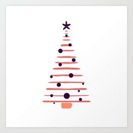 Coral Christmas tree Art Print