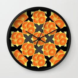 CONTEMPORARY SUCCULENT  ORANGES BLACK-GREY ART DESIGN Wall Clock