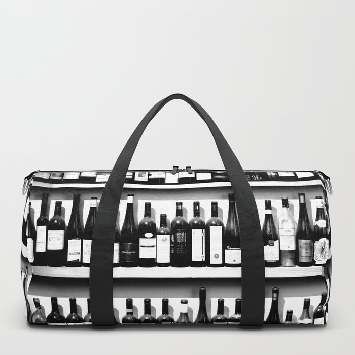 Wine Bottles in Black And White #society6 #decor Duffle Bag