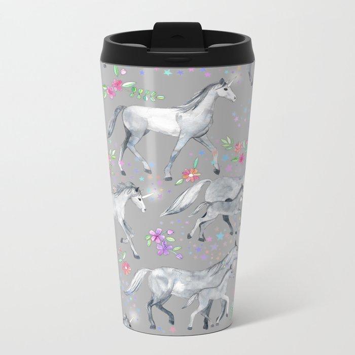 Unicorns and Stars on Soft Grey Metal Travel Mug