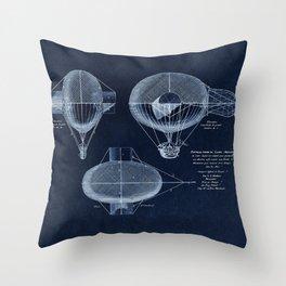 Antique Blueprint French Balloon Airship, Steampunk Throw Pillow