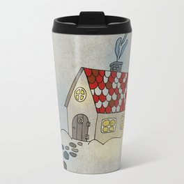 Winter Evening in Tiny Gingerbread House Travel Mug
