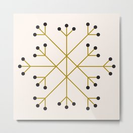 Mod Snowflake Olive Metal Print