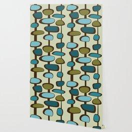 Mid Century Modern Baubles (teal) Wallpaper