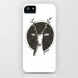 Reindeer outside in the snow iPhone Case