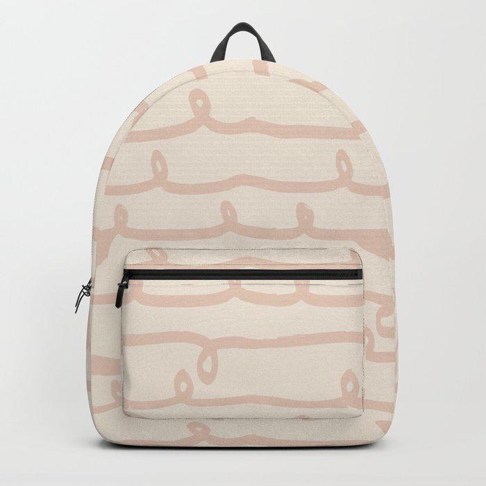 Vine Stripes Vintage Pink on Rose Petal Cream Backpack