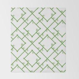 Bamboo Chinoiserie Lattice in White + Green Throw Blanket