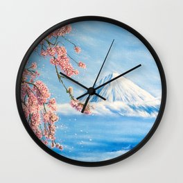"""Oil painting """"Cherry blossom"""" Wall Clock"""