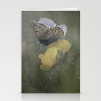 matty healy Stationery Cards featuring Blue butterfly on blossom by UtArt