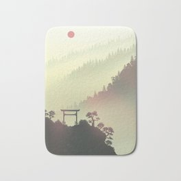 Red sunset in the Japan mountains Bath Mat