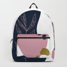 Abstract Shapes & Leaves in Midnight Blue with Metallic Gold Flecks Backpack