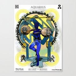 "Ars Tarot of the 12 Zodiac: ""Aquarius - The Star"" Canvas Print"