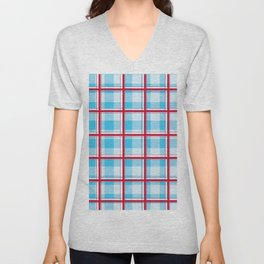 Checkered pattern Abstract blue and red Unisex V-Neck