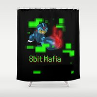 mega man Shower Curtains featuring Mega Man 8 Bit Mafia  by jimsomnia