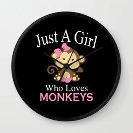 Just A Girl Who Loves Monkeys Monkeys Gift Design Wall Clock