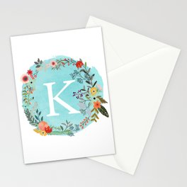 Personalized Monogram Initial Letter K Blue Watercolor Flower Wreath Artwork Stationery Cards