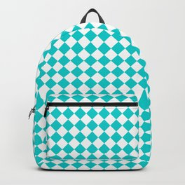 White and Cyan Diamonds Backpack