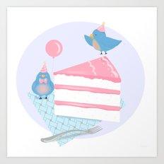 Bluebirds LOVE Birthday Cake Art Print