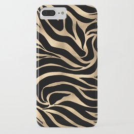 Elegant Metallic Gold Zebra Black Animal Print iPhone Case