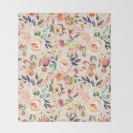 Hand painted ivory pink brown watercolor country floral Throw Blanket
