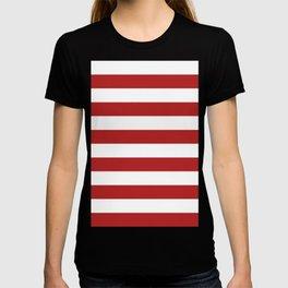Horizontal Stripes - White and Firebrick Red T-shirt