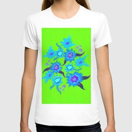 Neon Sky Blue Blooms T-shirt