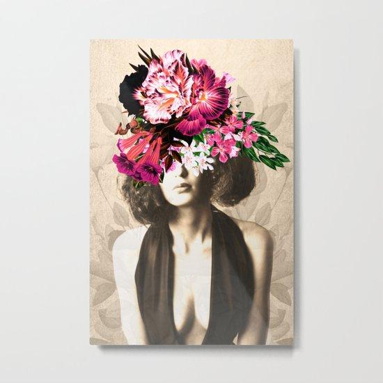 Floral Woman Vintage White Rose Gold Metal Print
