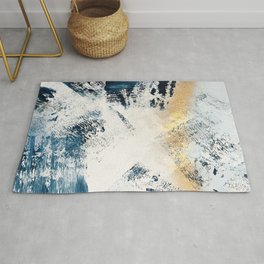 Sunset [1]: a bright, colorful abstract piece in blue, gold, and white by Alyssa Hamilton Art Rug