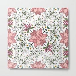 Cute Vintage Pink Floral Doodles Tile Art Metal Print