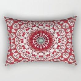 Red White Bohemian Mandala Design Rectangular Pillow