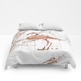 Rose gold marble - flamingo Comforters