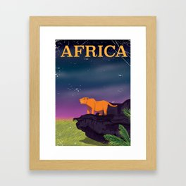 Africa Big Cat Retro Style travel poster Framed Art Print