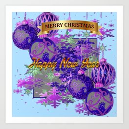 """MERRY CHRISTMAS"" PURPLE ORNAMENTS HOLIDAY  BLUE ART Art Print"