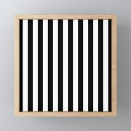 Abstract Black and White Vertical Stripe Lines 10 Framed Mini Art Print