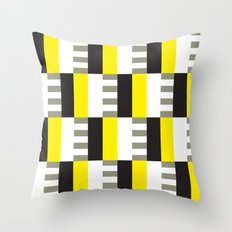 Yellow & black modernist pattern Throw Pillow