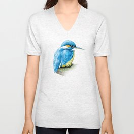 Kingfisher ornithology bird fine art watercolor Unisex V-Neck
