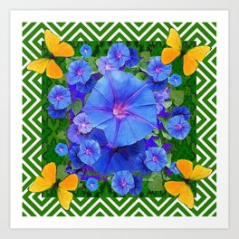 Forest Green Pattern Blue Morning Glory  Butterfly Art Art Print
