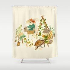 Critters: Summer Gardening Shower Curtain
