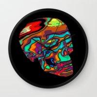 lsd Wall Clocks featuring LSD Skull by johannesart