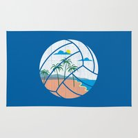 volleyball Area & Throw Rugs featuring Beach Volleyball by Erik Sandi Satresa