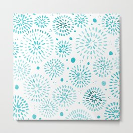 Abstract watercolor sparkles – turquoise Metal Print