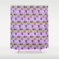 junk food Shower Curtains featuring Junk Food (Purple) by grackken