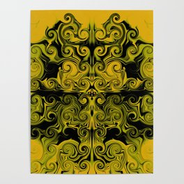 Yellow swirls art Poster