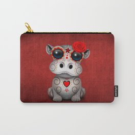 Red Day of the Dead Sugar Skull Hippo Baby Carry-All Pouch