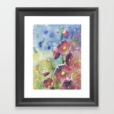 Hollyhocks - Pink Flowers Framed Art Print