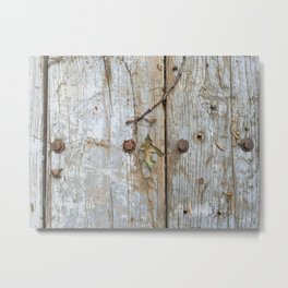 Oak Leaf on Vintage Planks with Rusty Bolts Metal Print